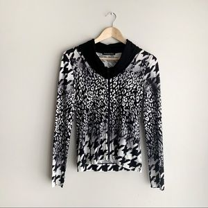 NWT Betty Barclay Leopard Print Zip-Up Sweater, 6